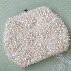 1950s Vintage Sequin and Bead clutch bag